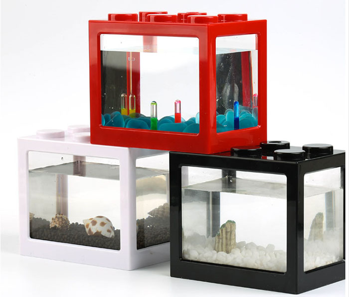 2017 New Product Lego Design Led Aquarium Plastic Fish Tank
